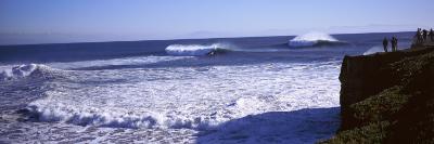 Tourist Looking at Waves in the Sea, Santa Cruz, Santa Cruz County, California, USA--Photographic Print