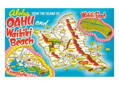 image about Printable Map of Oahu called Vacationer Map of Oahu, Hawaii Artwork Print as a result of