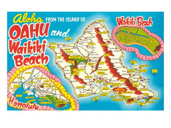 Oahu Tourist Map Tourist Map of Oahu, Hawaii Art Print by | Art.com