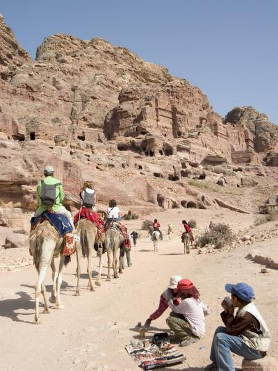 Tourist on Camels in Petra, Unesco World Heritage Site, Wadi Musa (Mousa), Jordan, Middle East-Christian Kober-Photographic Print