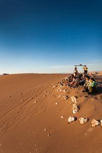 Tourist on sand dune, Valle De La Luna, Atacama Desert, San Pedro de Atacama, El Loa Province, A...