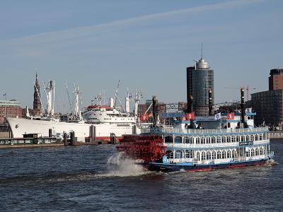 Tourist Paddlesteamer on the River Elbe, Hamburg, Germany, Europe-Hans Peter Merten-Photographic Print