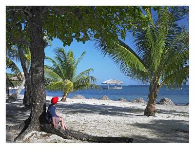 Tourist resting under palm trees on beach at Palmetto Bay, Roatan Island, Honduras-Tim Fitzharris-Art Print
