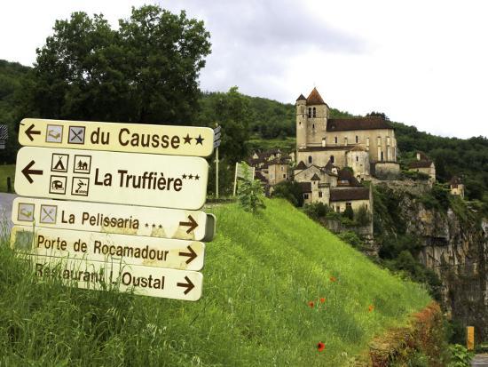 Tourist Signs Outside Village of St. Cirq Lapopie-Barbara Van Zanten-Photographic Print