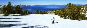 Tourist Skiing in a Ski Resort, Heavenly Mountain Resort, Lake Tahoe, California-Nevada Border, USA