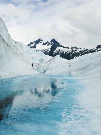 Tourist Trek Past Glacial Meltwater Pond on Mendenhall Glacier-James Forte-Photographic Print