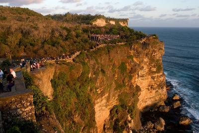 Tourists Along the Cliffs Next to the Ulu Watu Temple Pura Luhur, Bali--Photographic Print