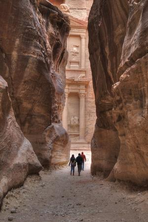 Tourists Approaching the Treasury from the Siq, Petra, Jordan, Middle East-Richard Maschmeyer-Photographic Print