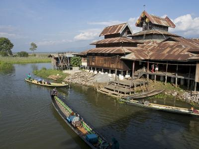 Tourists Arrive by Boat at Monastery on Inle Lake, Shan State, Myanmar (Burma)-Julio Etchart-Photographic Print