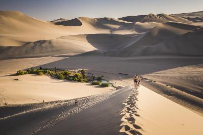 Tourists Climbing Sand Dunes at Sunset at Huacachina, a Village in the Desert, Ica Region, Peru-Matthew Williams-Ellis-Photographic Print