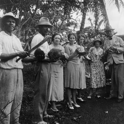 Tourists During a Halt by the Wayside, St Vincent, 1931--Photographic Print