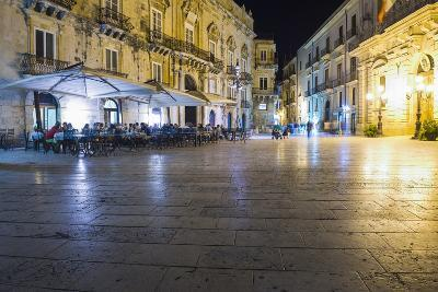 Tourists Eating at a Restaurant in Piazza Duomo at Night-Matthew Williams-Ellis-Photographic Print