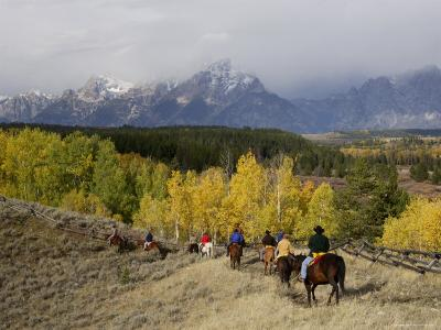 Tourists Enjoying Horseback Riding, Grand Teton National Park, Wyoming, USA-Rolf Nussbaumer-Photographic Print