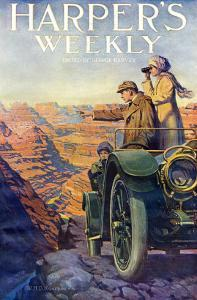 Tourists in an Automobile Visiting the Grand Canyon - Harper's Weekly Cover, Automotive Issue, 1911