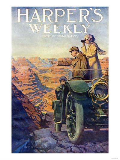 Tourists in an Automobile Visiting the Grand Canyon - Harper's Weekly Cover, Automotive Issue, 1911--Giclee Print