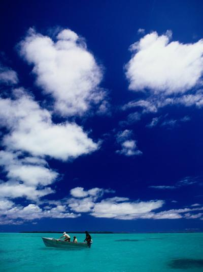 Tourists in Boat on Aitutaki Lagoon, Cook Islands, Pacific-Dallas Stribley-Photographic Print