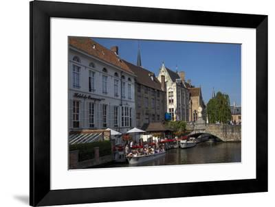 Tourists in boats travel on the Den Dijver canal in summer, Bruges, West Flanders, Belgium, Europe-Peter Barritt-Framed Photographic Print
