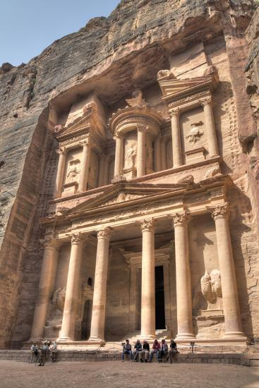 Tourists in Front of the Treasury, Petra, Jordan-Richard Maschmeyer-Photographic Print