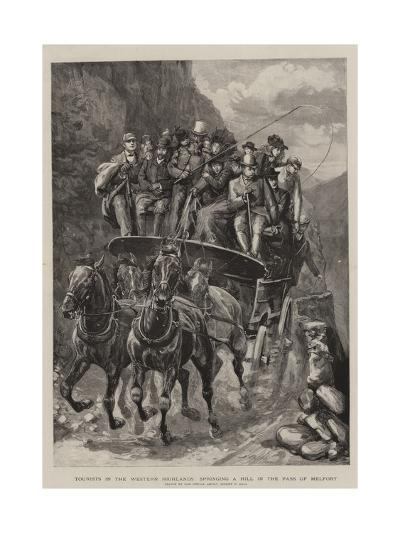 Tourists in the Western Highlands, Springing a Hill in the Pass of Melfort-Sydney Prior Hall-Giclee Print