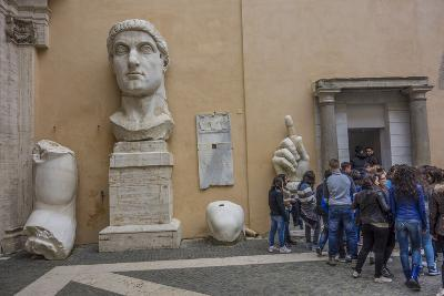 Tourists Line Up at the Entrance of the Capitoline Museum Next to a Bust of Constantine-Will Van Overbeek-Photographic Print