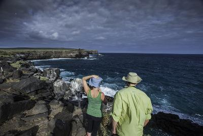 Tourists Looking Out at the Sea Cliffs of Espanola Island-Jad Davenport-Photographic Print