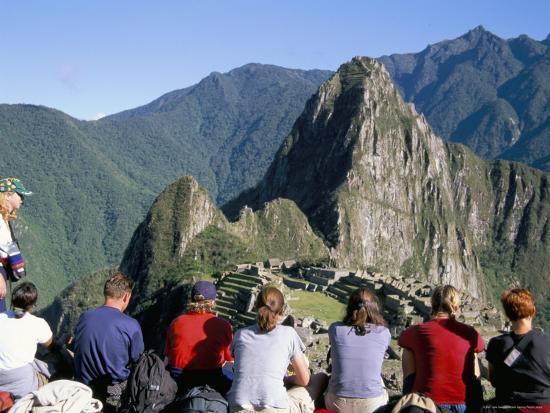 Tourists Looking out Over Machu Picchu, Unesco World Heritage Site, Peru, South America-Jane Sweeney-Photographic Print