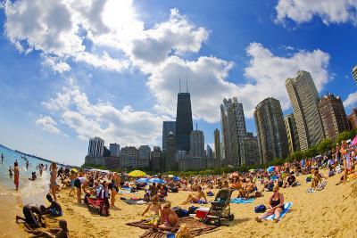 Tourists on a Beach, Oak Street Beach, Lake Shore Drive, Lake Michigan--Photographic Print
