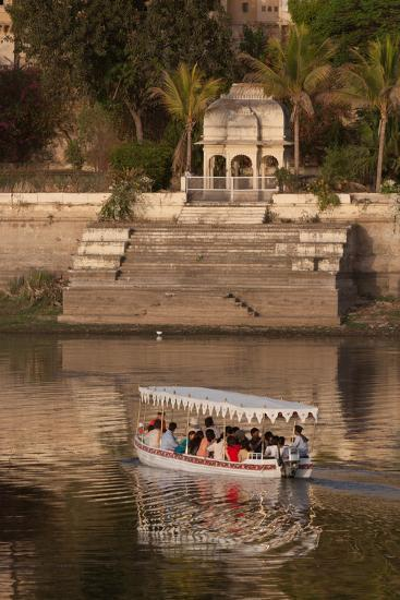 Tourists on a Boat on Lake Pichola in Udaipur, Rajasthan, India, Asia-Martin Child-Photographic Print