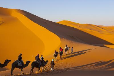 Tourists on Camel Safari, Sahara Desert, Merzouga, Morocco, North Africa, Africa-Doug Pearson-Photographic Print