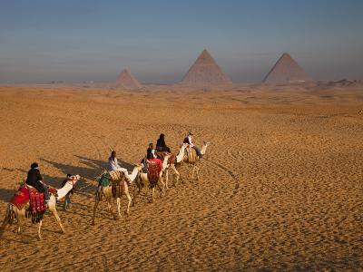 Tourists on Camels and Pyramids of Giza-Richard l'Anson-Photographic Print