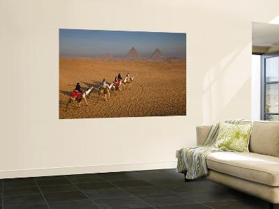 Tourists on Camels and Pyramids of Giza-Richard l'Anson-Wall Mural