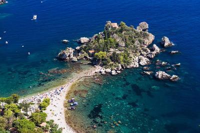 Tourists on Isola Bella Beach, Taormina, Sicily, Italy, Mediterranean, Europe-Matthew Williams-Ellis-Photographic Print