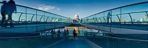 Tourists on London Millennium Footbridge, St. Paul's Cathedral, Thames River, London, England
