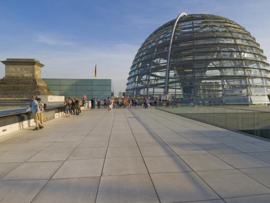 Tourists on the Roof Terrace of the Famous Reichstag Parliament Building, Berlin, Germany-Neale Clarke-Photographic Print