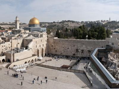 Tourists Praying at a Wall, Wailing Wall, Dome of the Rock, Temple Mount, Jerusalem, Israel--Photographic Print