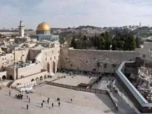 Tourists Praying at a Wall, Wailing Wall, Dome of the Rock, Temple Mount, Jerusalem, Israel