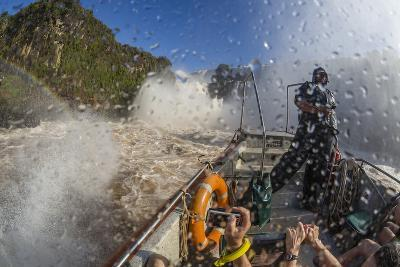 Tourists Take a River Boat to the Base of the Falls, Misiones, Argentina-Michael Nolan-Photographic Print