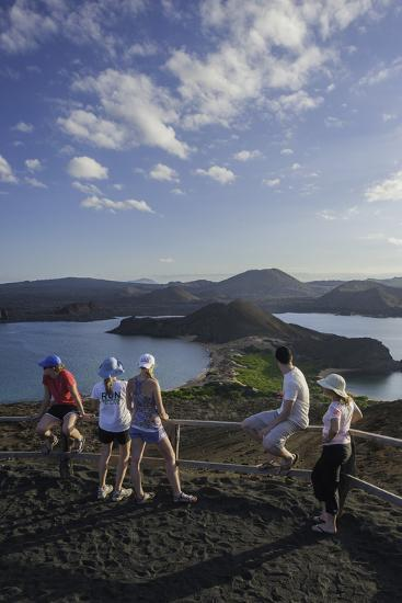 Tourists Viewing the Coast of Bartolome Island-Jad Davenport-Photographic Print