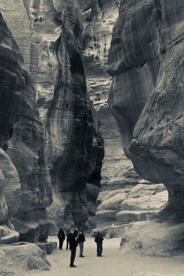 Tourists walking through the Siq, Petra, Wadi Musa, Jordan--Photographic Print