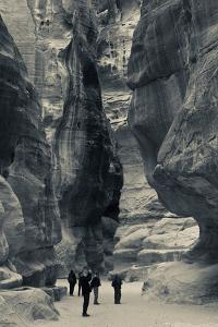 Tourists walking through the Siq, Petra, Wadi Musa, Jordan