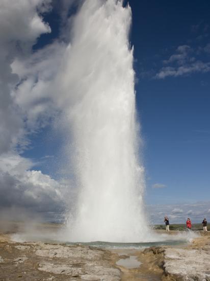 Tourists Watch Strokkur Geyser Erupting, Geysir, Iceland-Don Grall-Photographic Print