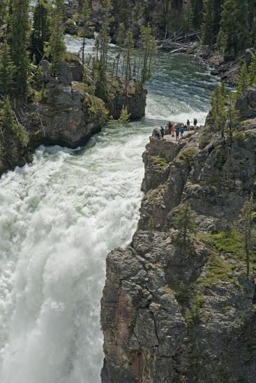 Tourists Watch Yellowstone River Plunge over Upper Yellowstone Falls-Gordon Wiltsie-Photographic Print