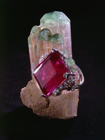 Tourmaline Resting on a Crystal-Victor R^ Boswell, Jr-Photographic Print