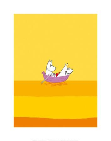 Moomintroll and Snorkmaiden Relaxing in Their Boat