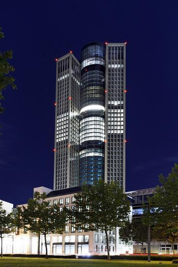 Tower 185, Dusk, Theodor-Heuss-Allee, District Gallus, European District-Axel Schmies-Photographic Print