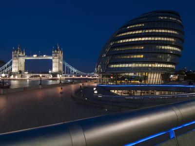 Tower Bridge and City Hall Dusk, London, England, United Kingdom, Europe-Charles Bowman-Photographic Print