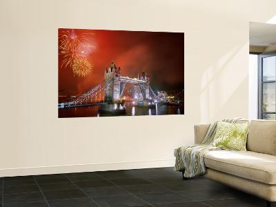 Tower Bridge and Fireworks, London, England-Steve Vidler-Wall Mural