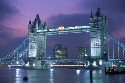 Tower Bridge at Night, London, UK-Peter Adams-Wall Mural