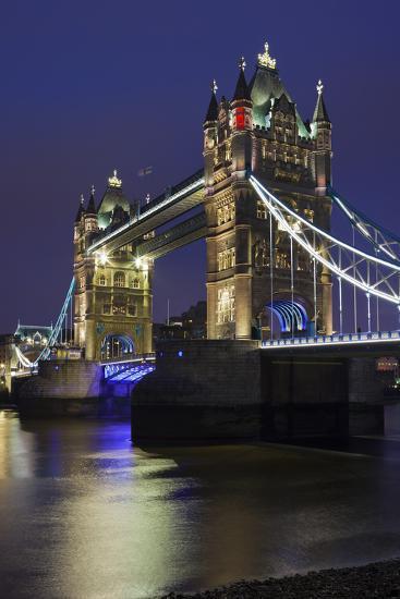 Tower Bridge by Night, London, England, Great Britain-Rainer Mirau-Photographic Print