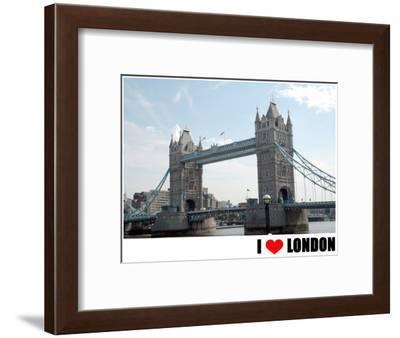 Tower Bridge, I Love London--Framed Art Print